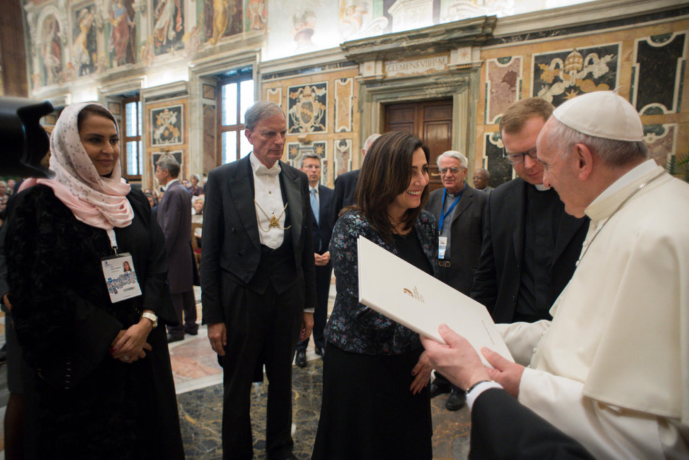 Baroness Joanna Shields presenting Pope Francis with Declaration of Rome 1.jpg