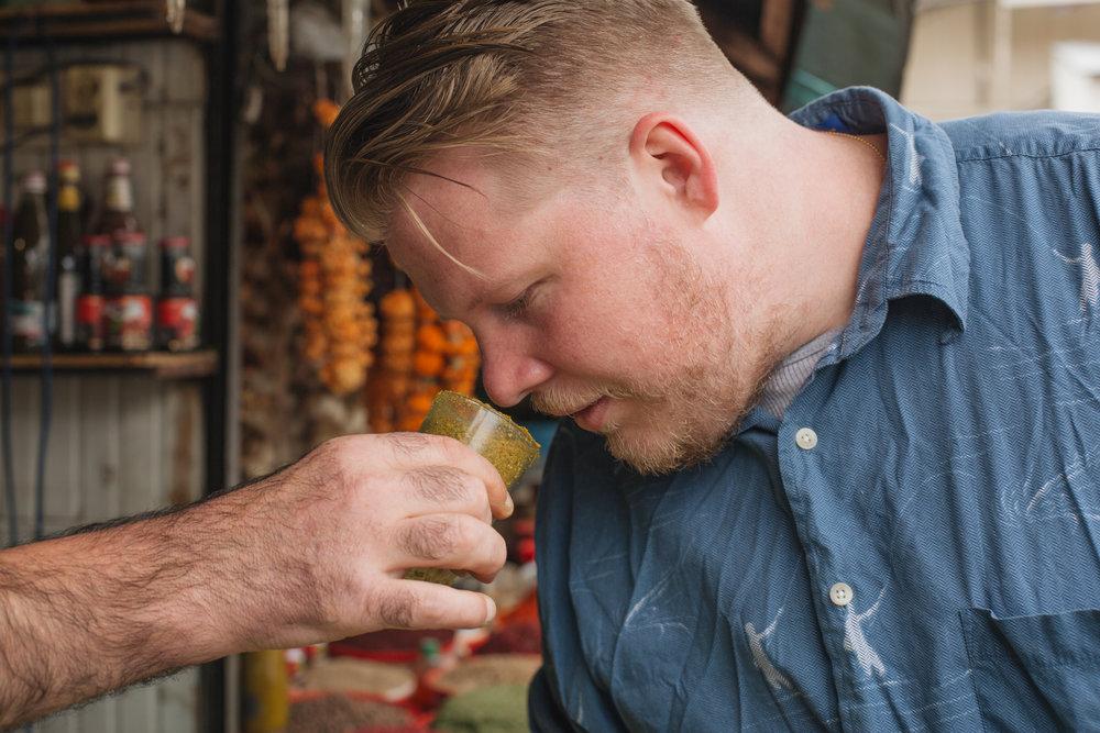 Executive Chef Gerald Addison sampling Georgian spices