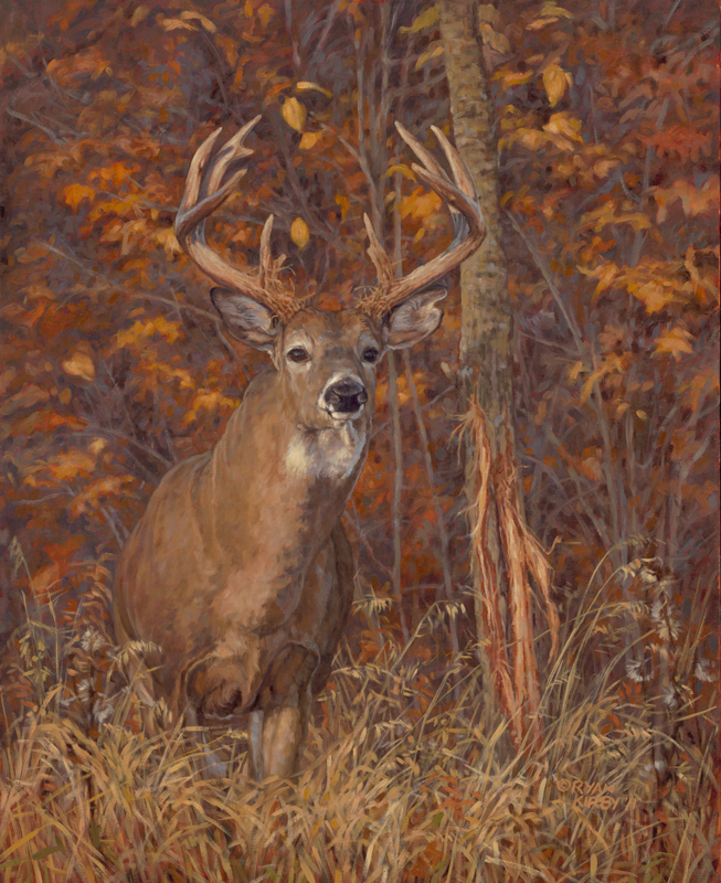 Original White-tailed Deer Painting Posting Up by Ryan Kirby