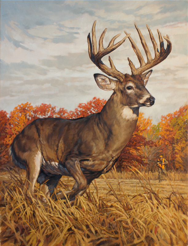 Original White-tailed Deer Painting Running and Gunning by Ryan Kirby