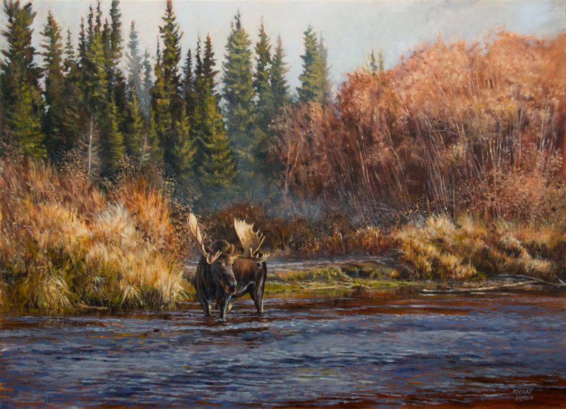 Original Moose Oil Painting Crossing the Hog by Ryan Kirby