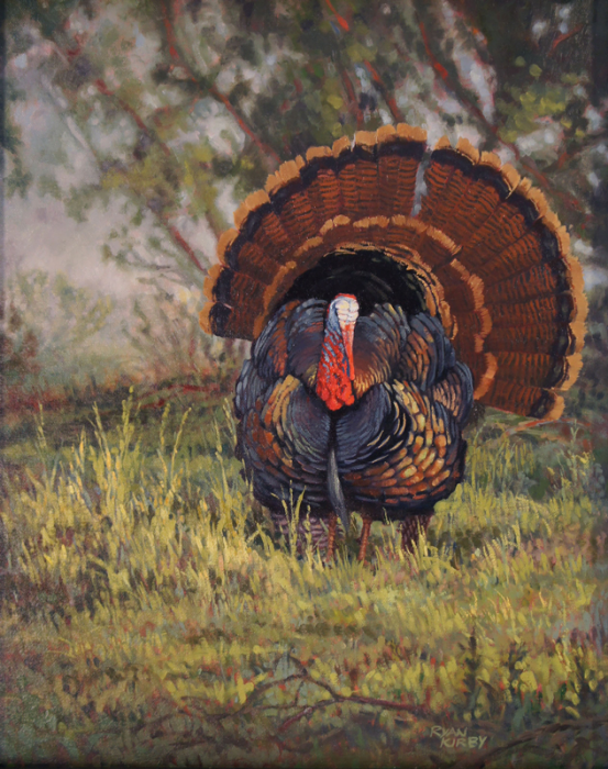 ryan_kirby_original_wild_turkey_painting_daybreak_display