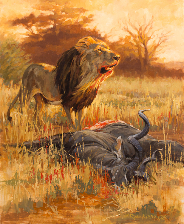ryan_kirby_original_lion_painting_cecil_the_hunter