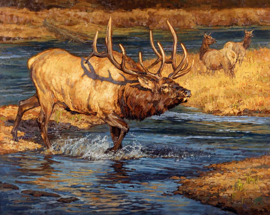 ryan_kirby_original_elk_painting_crossing_guard_rocky_mountain_elk_foundation