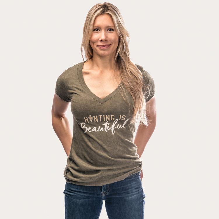 cee08a013 Ryan Kirby Art — Hunting Is Beautiful Women s V-Neck T-Shirt ...