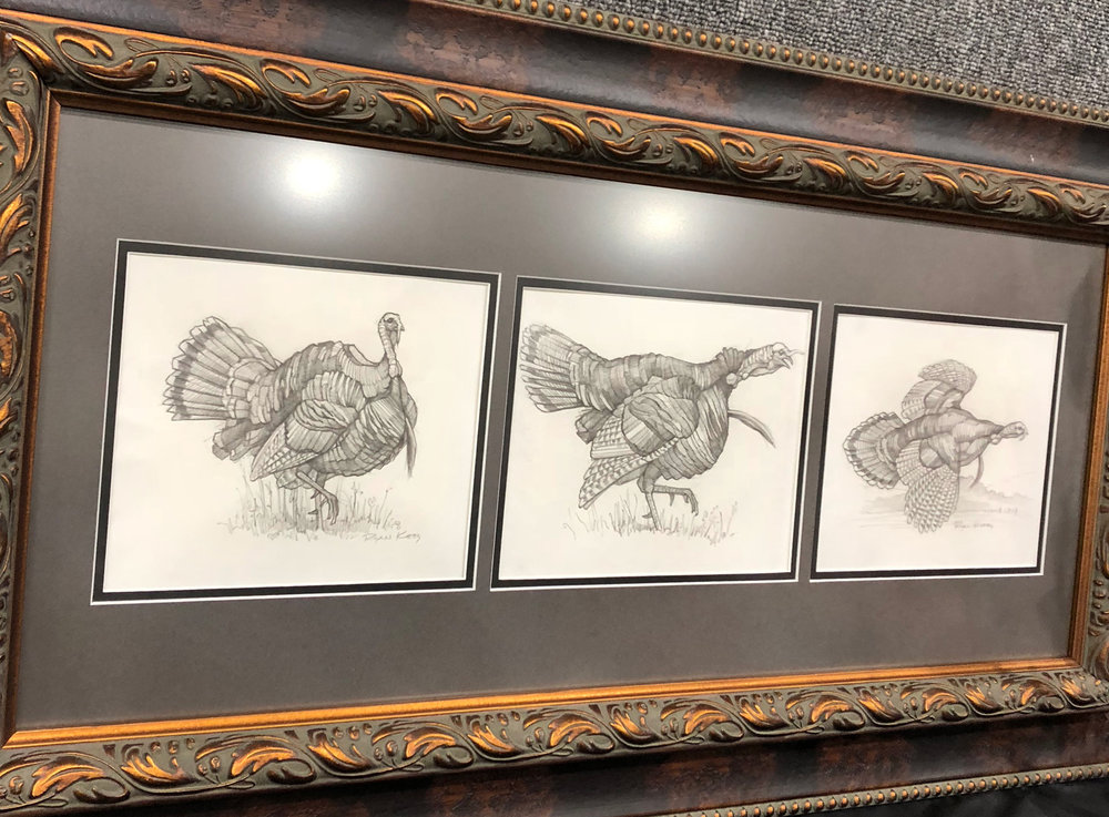 Framed similar to the whitetails, this trio of longbeard sketches was also a hit at the event.