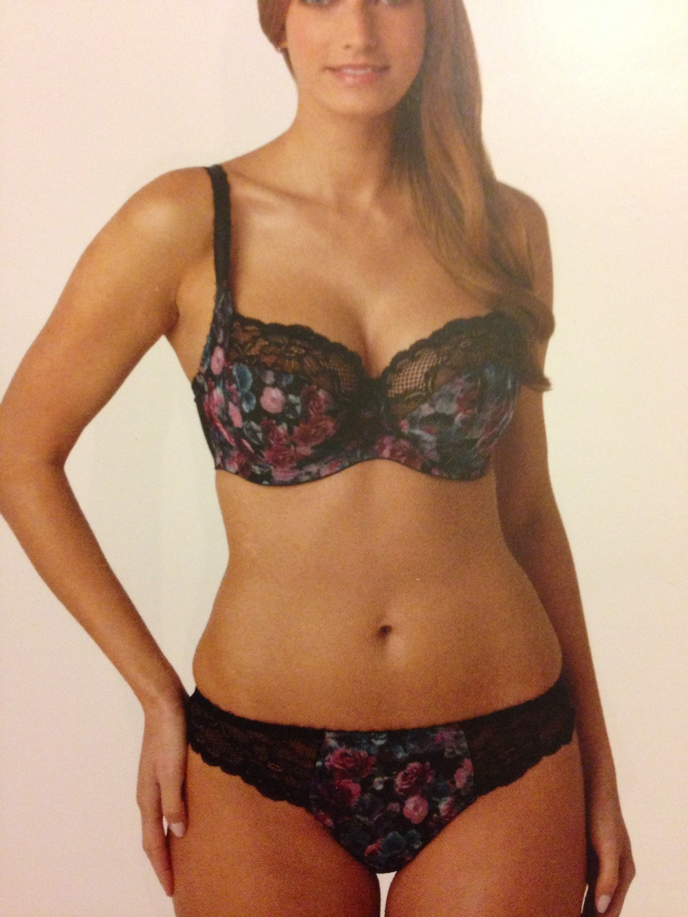 Jasmine Balconnet Bra in Black Floral, 30-38 D-K, and Thong in 8-20