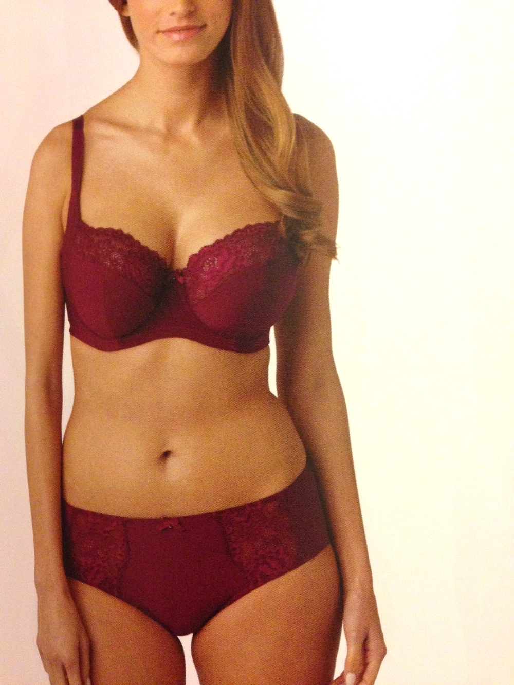 Brooke Balconnet Bra in Claret, 30-38 D-K, and Short, 8-20