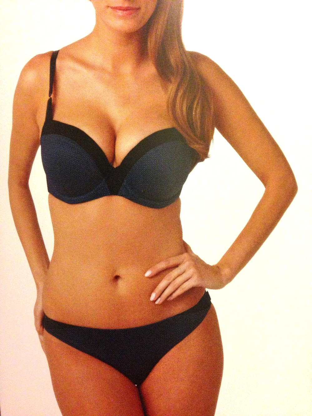 Adriana Moulded Sweetheart Bra in Blue/Black, 28-38 D-G, and Brazilian Brief, 8-18