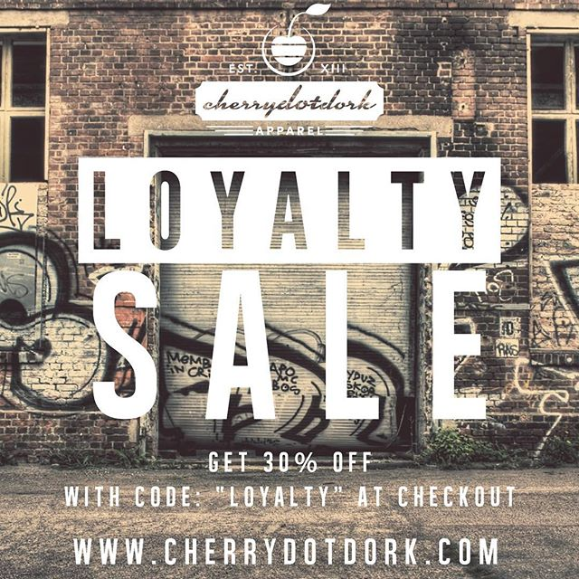 I'm a leave this here for our loyal supporters old and new! Act now and get 30% your entire order with code LOYALTY at check out. Only at cherrydotdork.com #Sale #Apparel #Loyalty #cdot #cherrydotdork