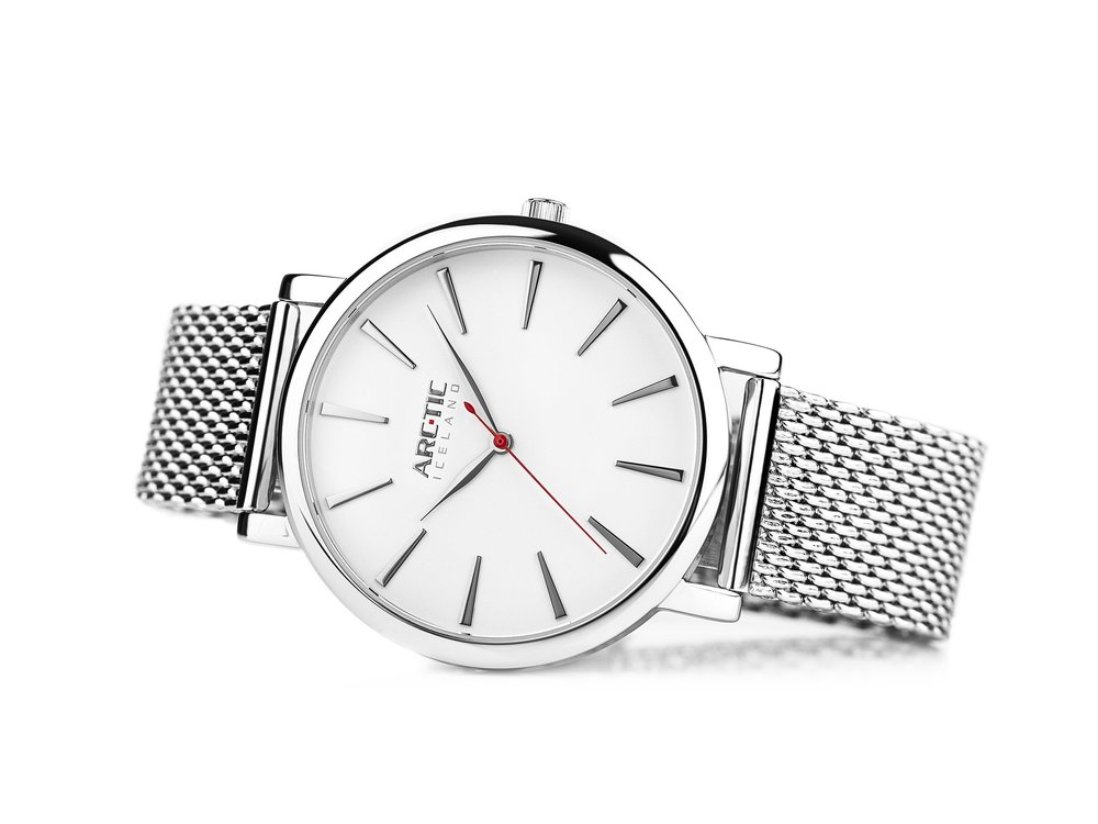 ARC-TIC Iceland Retro white 36mm with Steel band - Learn More