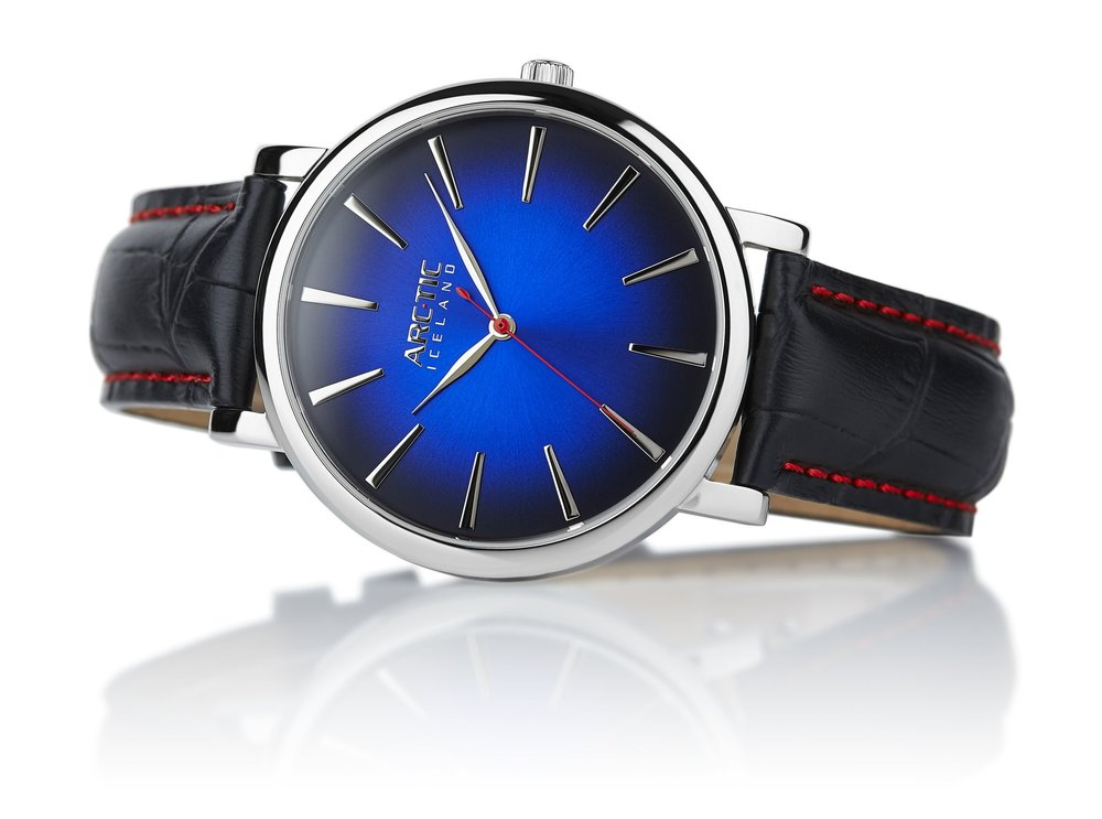 ARC-TIC Iceland Retro Blue 42mm   or 36mm with black leather strap-   Learn More