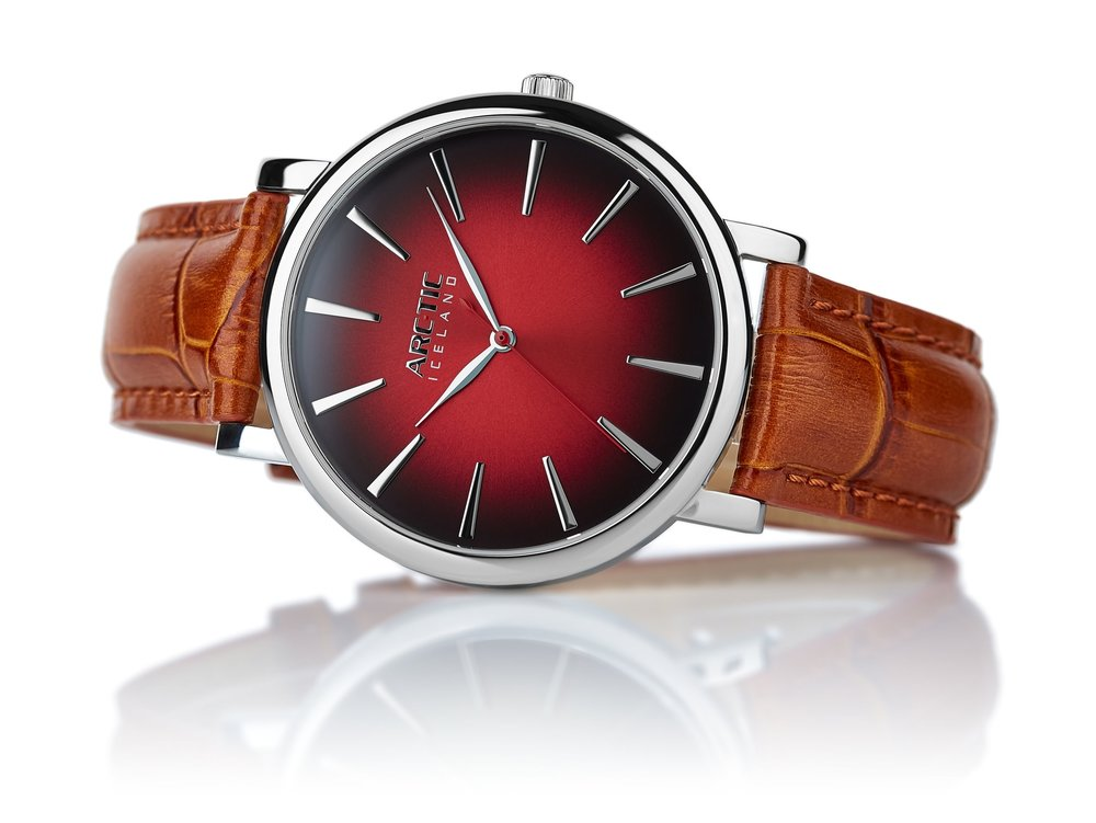 ARC-TIC Iceland Retro Red 42mm   or 36mm with brown leather strap -   Learn More