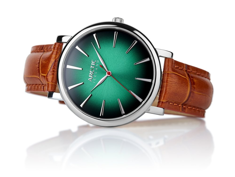 ARC-TIC Iceland Retro Green 42mm   or 36mm with brown leather strap -  Learn More