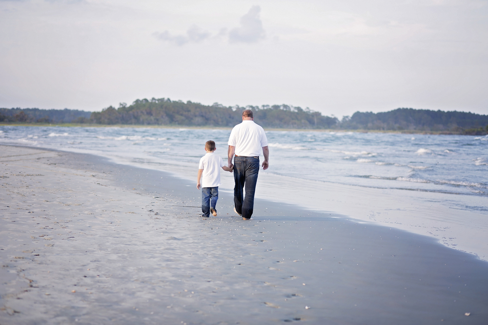 father son walking on beach cherry grove sc photographer
