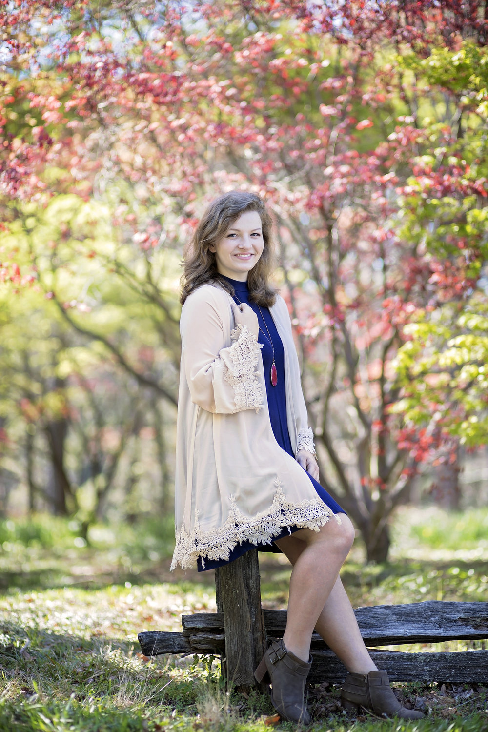 senior portraits seneca high clemson south carolina botanical gardens