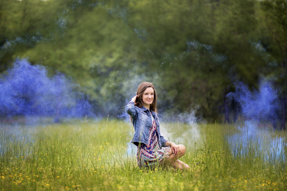 senior portrait photographer pickens sc blue flame smoke bomb