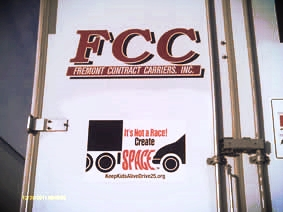 FCC Trucking  of Fremont, NE attached our decals to the backs of its trailers