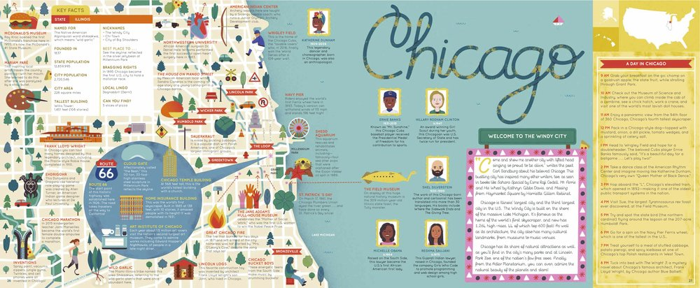 """WELCOME TO THE WINDY CITY Come and show me another city with lifted head singing so proud to be alive,"""" writes the poet Carl Sandburg about his beloved Chicago. This bustling city has inspired many other writers, too, as seen in books like Sahara Special by Esme Raji Codell, Mr. Ferris and His Wheel by Kathryn Gibbs Davis, and Missing from Haymarket Square by Harriette Gillem Robinet. Chicago is Illinois' largest city and the third largest city in the U.S.. The Windy City is built on the shore of the massive Lake Michigan. It's famous as the home of the world's first skyscraper, and now has 1,264 high-rises, 44 of which top 600 feet! As well as its architecture, the city also has many cultural landmarks, from museums to music venues. Chicago has its share of natural attractions as well, as you'll find in the city's many parks and at Lincoln Park Zoo, one of the nation's few free zoos. Finally, from the Adler Planetarium, you can even admire the natural beauty of the planets and stars!"""