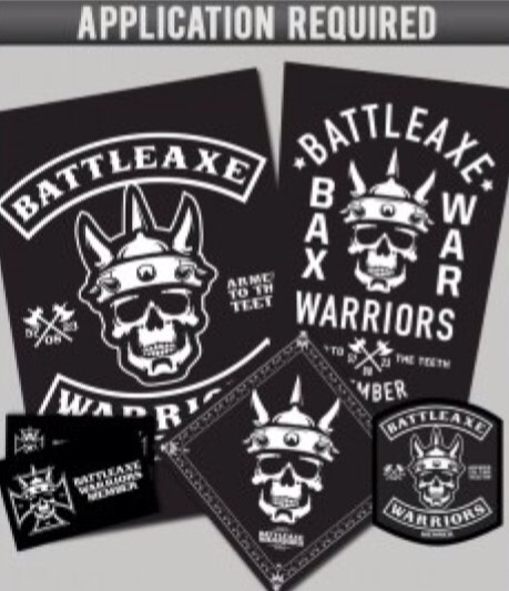 Includes: Chest & Back Patch, Bandanna, Wall Flag &  membership card.