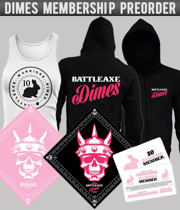 Includs: Two dimes bandannas one pink and one black, dimes bunny girls tank top, dimes zip hooded sweatshirt and a dimes member card.