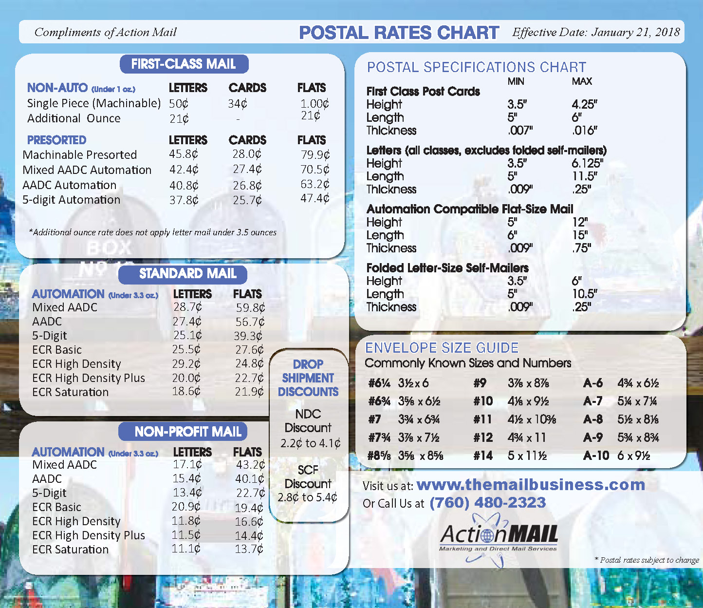 USPS January 21, 2018 Rate Change — Action Mail