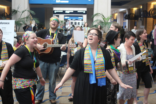 LYNC supporters broke into song at GC2012. Photo by Jim Quinn.