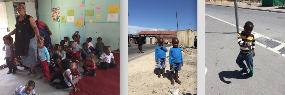 På landet finns väldigt få skolor vilket leder till att folk migrerar till storstäderna, oftast till kåkstäderna. Statliga skolorna i Sydafrika är gratis och man får frukost och lunch gratis men många barn går inte till skolan ändå. Ofta beror detta på att kriminella gäng, tidig graviditet, HIV, droger och misshandel hemma uppstår tidigt i livet för många. Förskolan i vänster drivs av initiativ av deras lärare som påstår att man inte fårhjälp från staden. Barnen sjunger: ''This is my body from head to toe - I have the right to say no! Don't touch me!'', ''Remember no education, no future, no jobs, no money, let's go to school and learn-learn-learn'', ''I am special, special me, very very special, special me''.