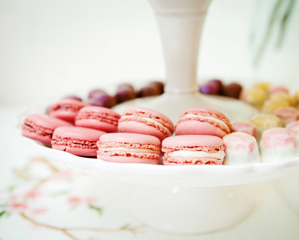 Macaroons from Laduree, with MiniMelanie jeweled chocolate truffles.