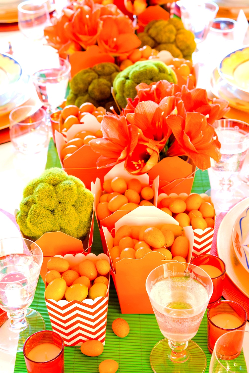 New Year Dinner Party Ideas Part - 50: Orange And Green Tablescape.JPG