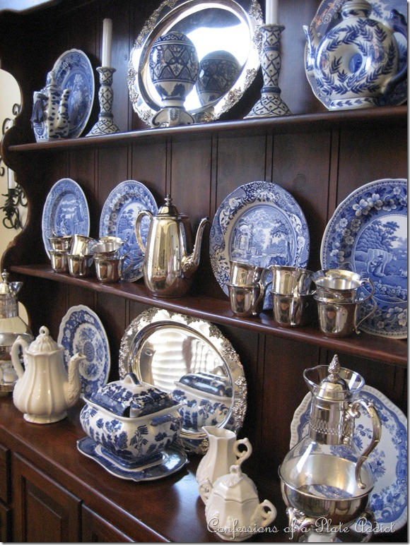 Blue and White china isn't limited to jars! I love this collection of platters and serving ware. (Image from  Confessions of a Plate Addict )