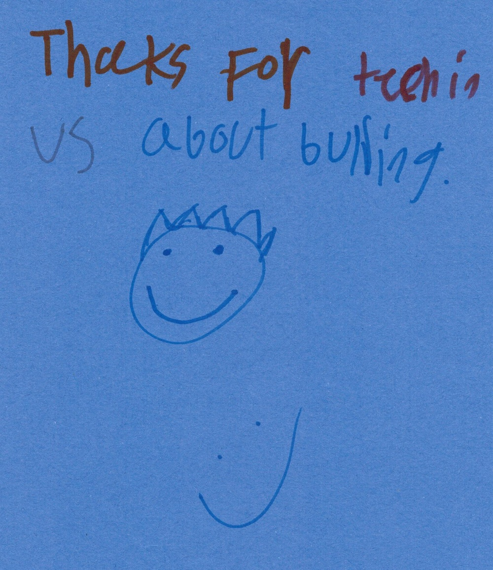 For police officer's appreciation week, the kids working with the  Council on At-Risk Youth  at  Barrington  and  Hart Elementary Schools  wrote thank you cards for the police officers who mentored them, taught them how to resist enrolling into gangs, as well as leadership all along the school year.