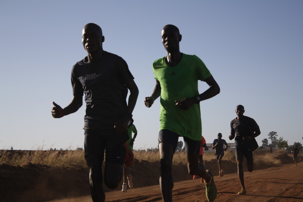 Olympic silver medalist Abel Kirui used a float recovery during this 27-kilometer workout in Kenya   Photo by Philip Latter