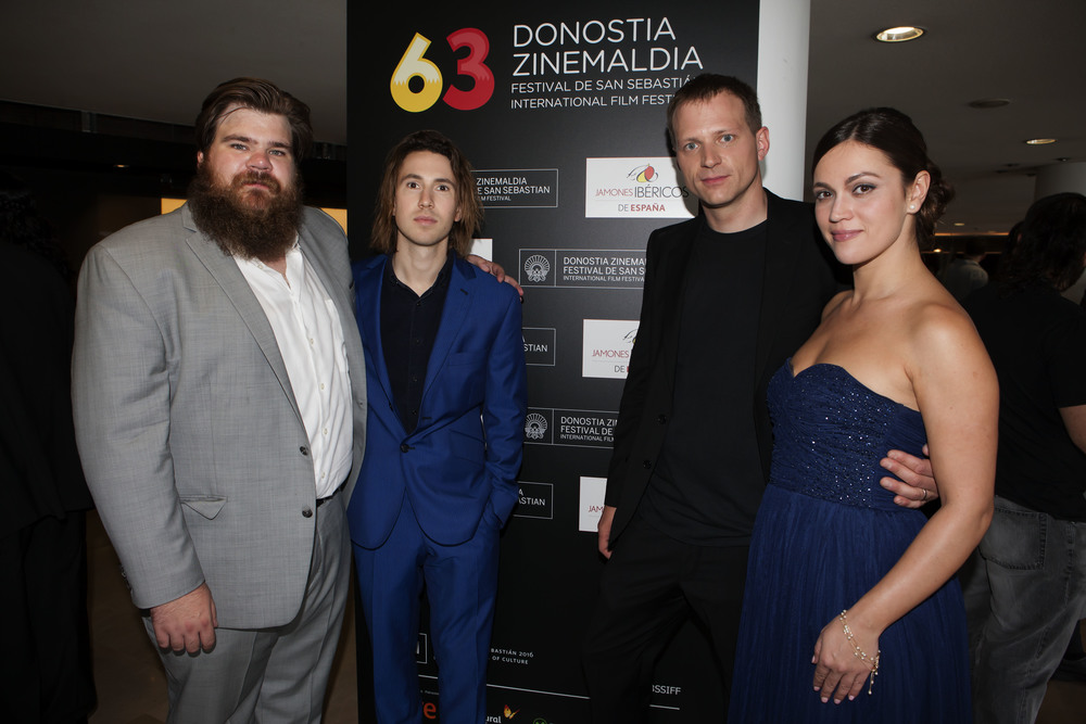 Producer Tyler Deck, actor Cameron Crosby, director Hans Christian Berger, and actress Alyssa Reece at the San Sebastian International Film Festival. © San Sebastian International Film Festival 2015