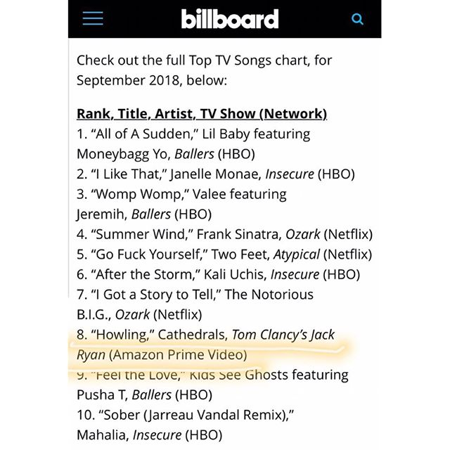 "So cool that ""Howling"" is in the top 10 most Shazamed songs of September 2018 on the @billboard charts! Thanks again to @jackryanamazon for including our song in Episode 4. have you watched it yet? 🖤 @shazam"