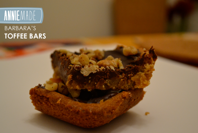 ANNIEMADE Recipe - Chocolate Walnut Toffee Bars