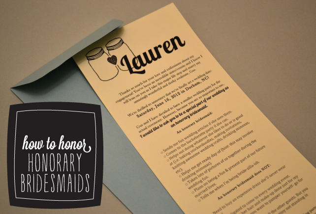 DIY Wedding - How to honor Honorary Bridesmaids - Free Printable Honorary Bridesmaid Card