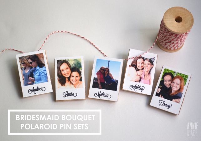 anniemade Bridesmaid Bouquet Polaroid Pins