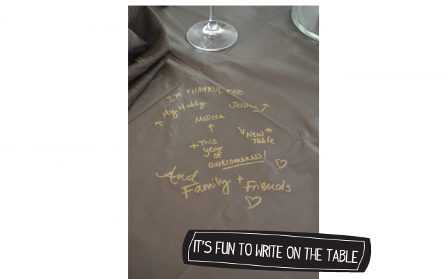 anniemade DIY Thanksgiving Tablecloth using Gold Sharpies + Template