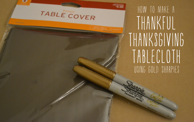 anniemade DIY Thanksgiving Table Cloth using gold sharpies + Free Template