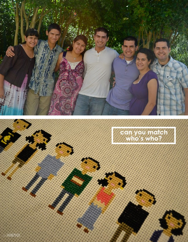 anniemade Turn your family into a cross-stitch masterpiece! Tutorial