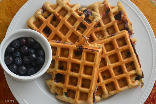 anniemade Blueberry Muffin Waffles with Salted Caramel - Recipe