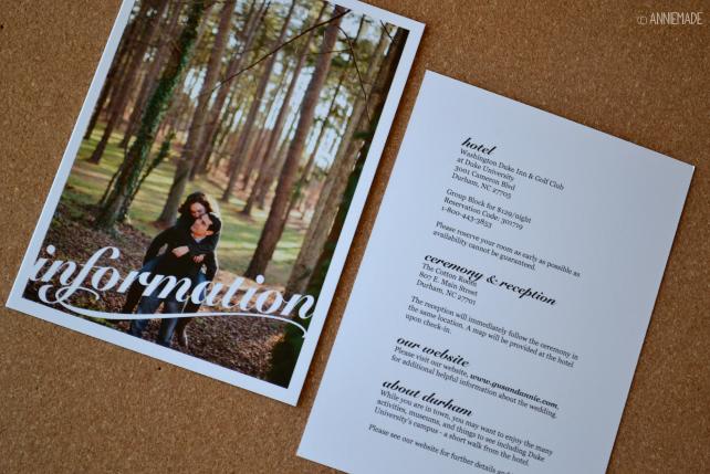 anniemade Custom Wedding Info Card - Invitation Suite