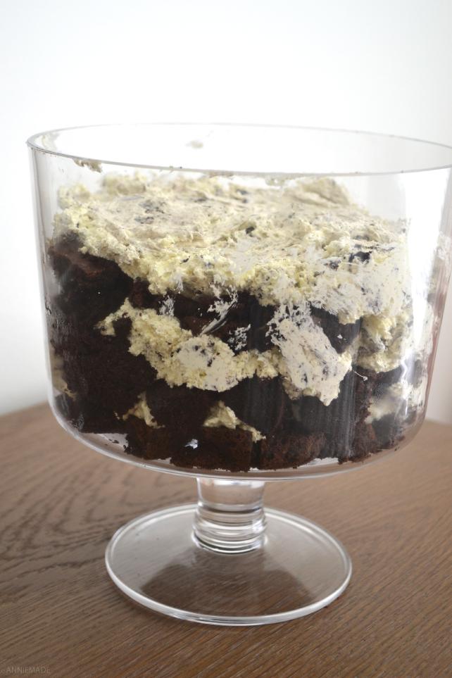 anniemade | Gluten-Free Oreo Brownie Cake Trifle - Made with Gluten-Free Trader Joe's Joe-Joes and GF Betty Crocker Cake Mixes - Super Easy Recipe