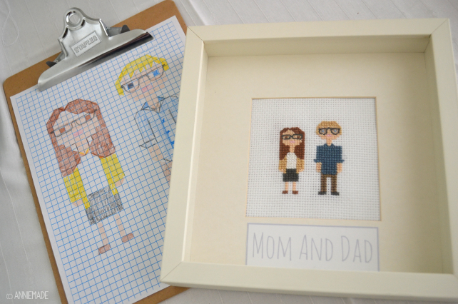 anniemade // Custom Mom and Dad Cross-Sitch for a Baby's Nursery