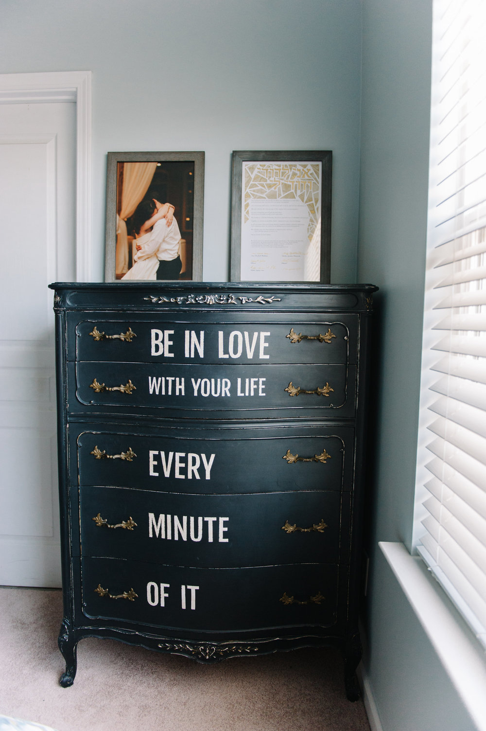anniemade | Master Bedroom with DIY Black Typography Dresser | photo by Faith Teasley Photography