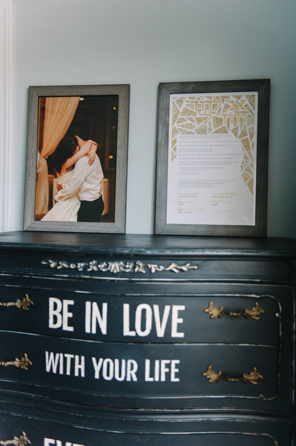 anniemade | Master Bedroom with DIY Black Painted Dresser | photo by Faith Teasley Photography
