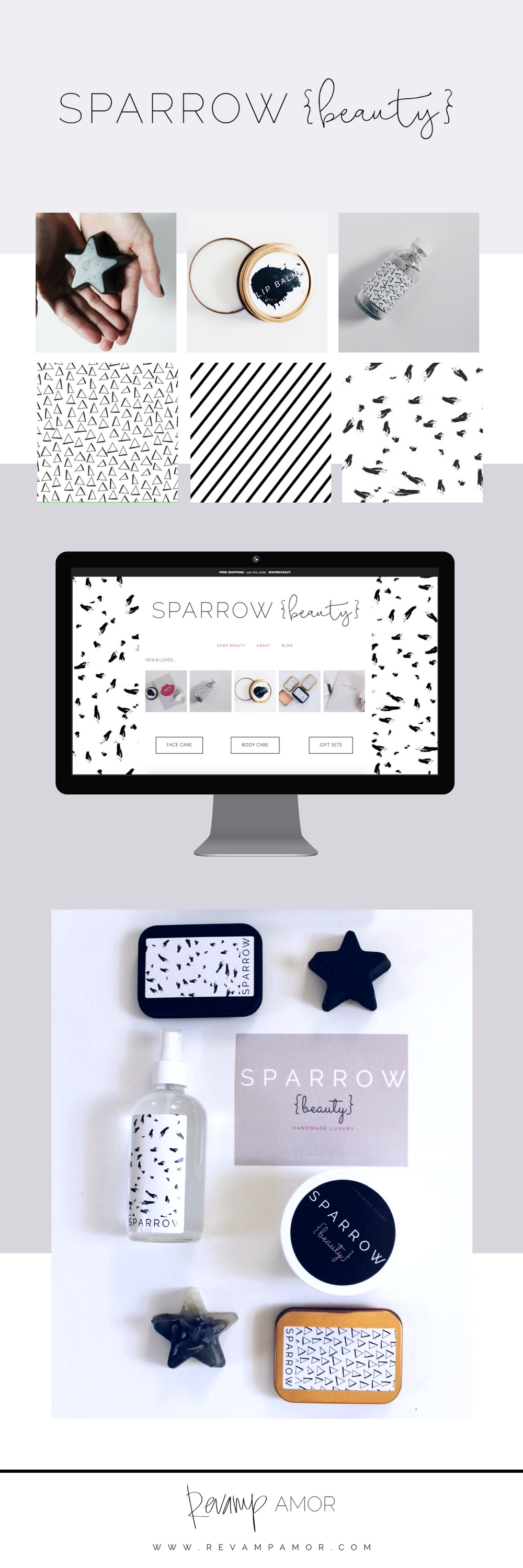 brand identity and web design from the Revamp, Amor Design Studio
