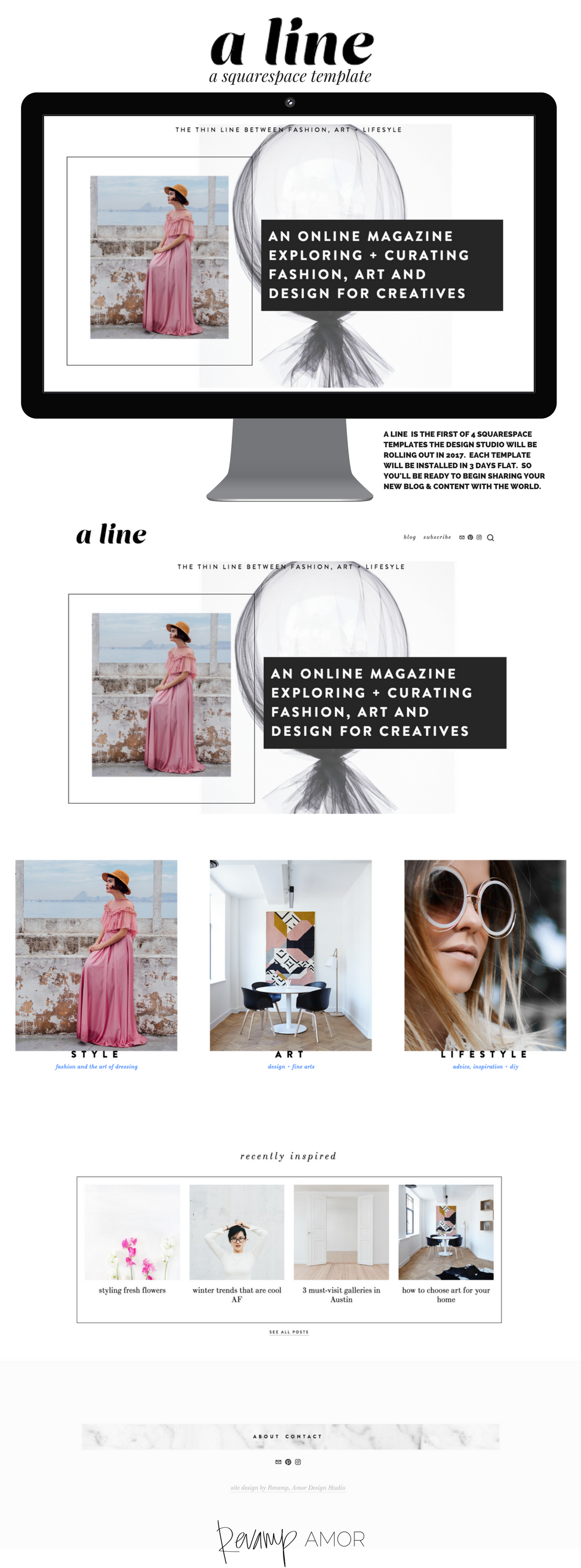 A LINE a squarespace template from the Revamp, Amor Design Studio