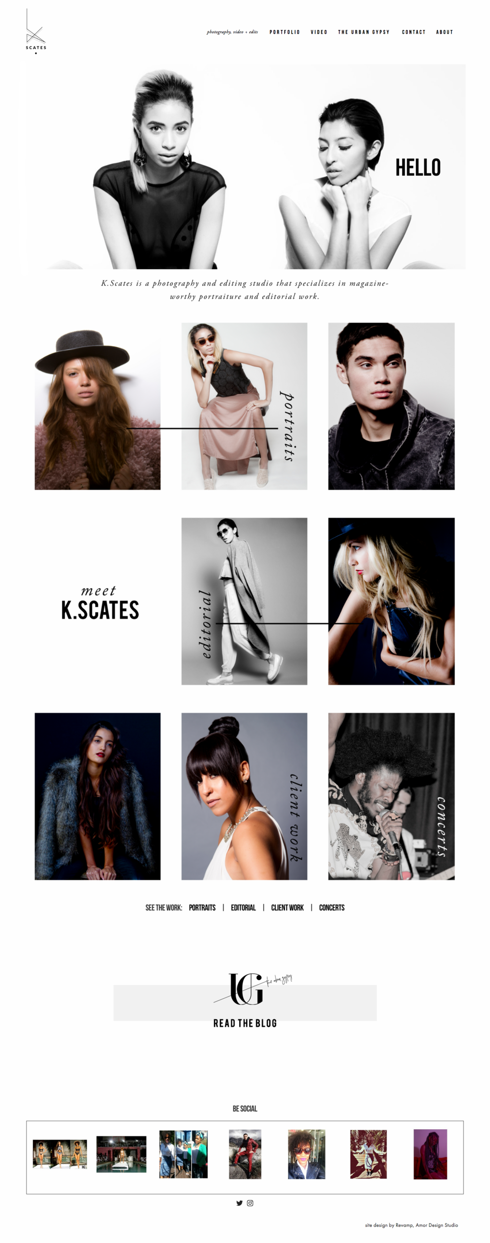 K Scates Photography, web portfolio design by Revamp, Amor Design Studio